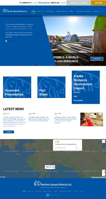 Northern Dynasty Minerals Ltd. Website Screenshot