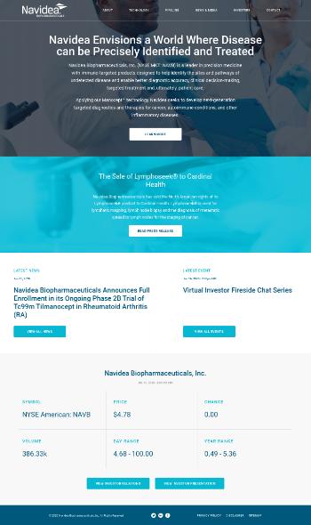 Navidea Biopharmaceuticals, Inc. Website Screenshot