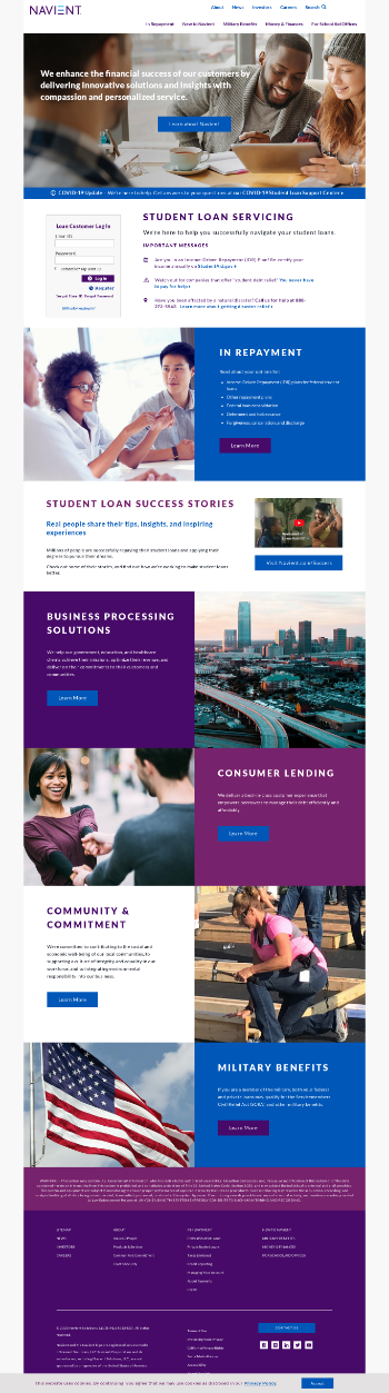 Navient Corporation Website Screenshot