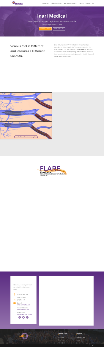 Inari Medical, Inc. Website Screenshot