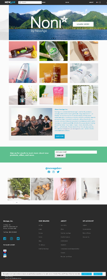 New Age Beverages Corporation Website Screenshot