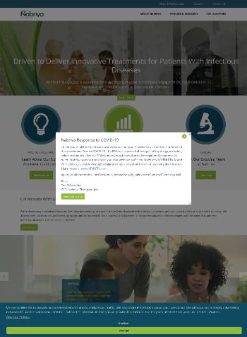 Nabriva Therapeutics plc Website Screenshot