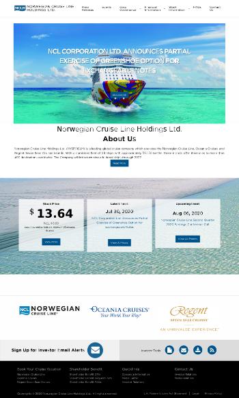 Norwegian Cruise Line Holdings Ltd. Website Screenshot