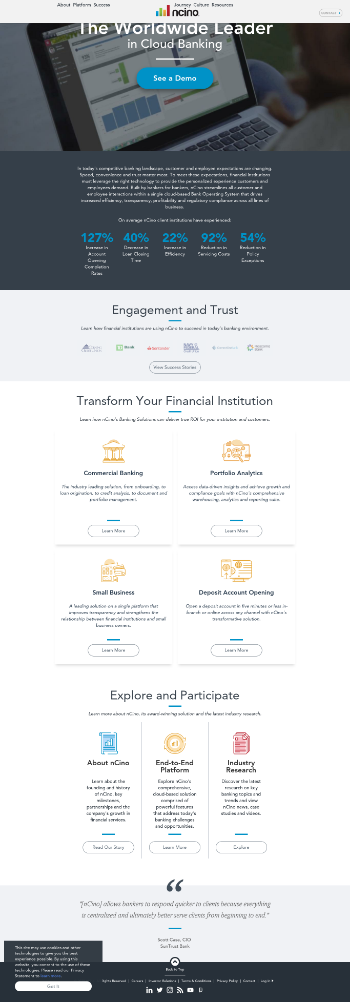nCino, Inc. Website Screenshot