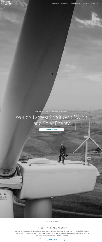 NextEra Energy, Inc. Website Screenshot