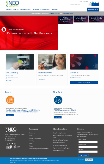 NeoGenomics, Inc. Website Screenshot