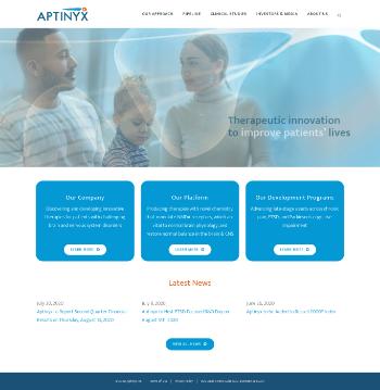 Aptinyx Inc. Website Screenshot