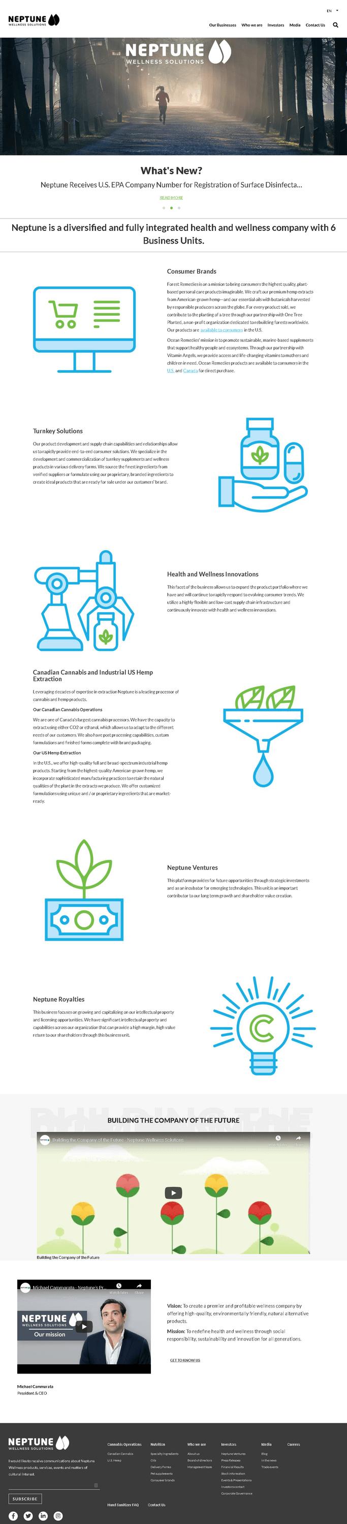 Neptune Wellness Solutions Inc. Website Screenshot