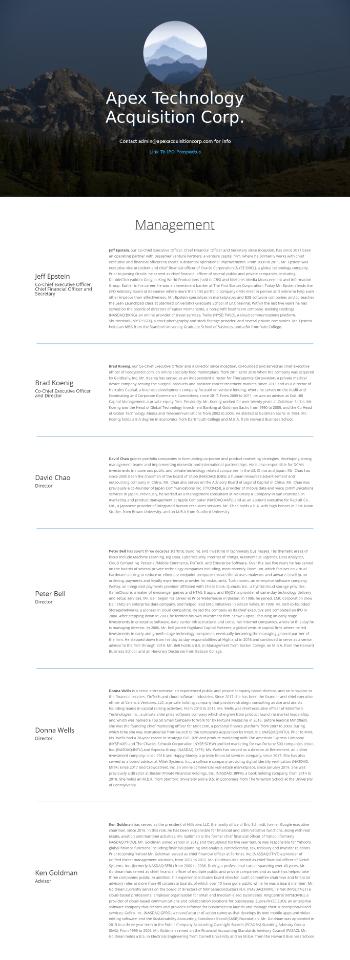 Apex Technology Acquisition Corporation Website Screenshot