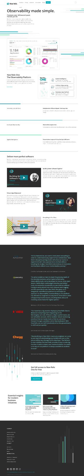 New Relic, Inc. Website Screenshot