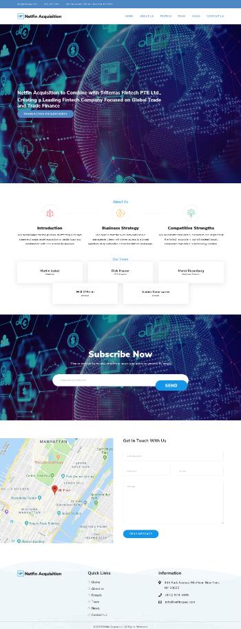 Netfin Acquisition Corp. Website Screenshot