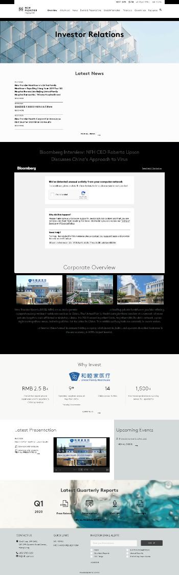 New Frontier Health Corporation Website Screenshot