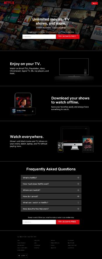 Netflix, Inc. Website Screenshot