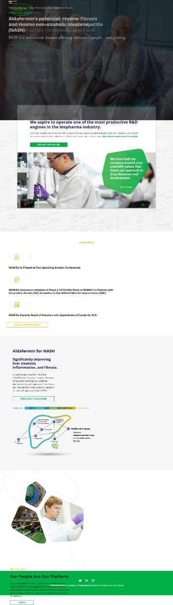 NGM Biopharmaceuticals, Inc. Website Screenshot