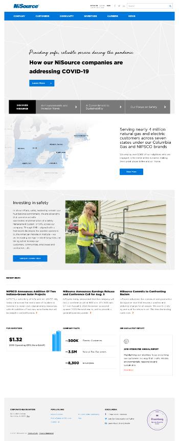 NiSource Inc. Website Screenshot