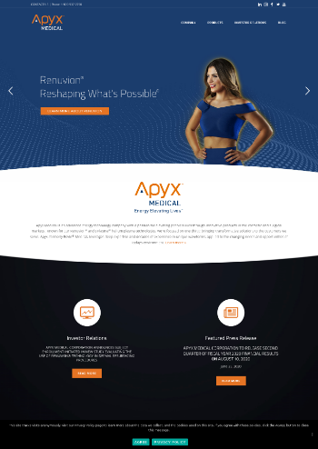 Apyx Medical Corporation Website Screenshot