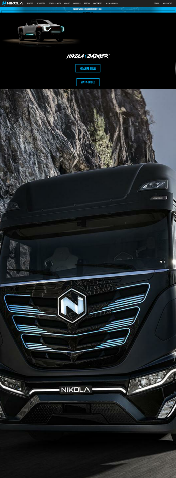 Nikola Corporation Website Screenshot