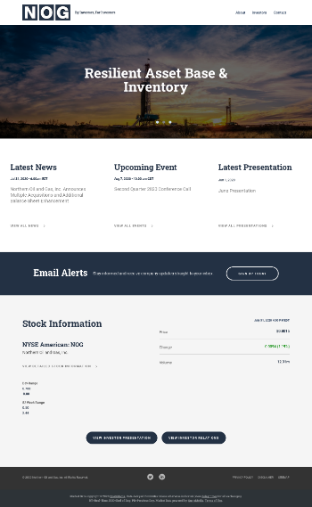 Northern Oil and Gas, Inc. Website Screenshot