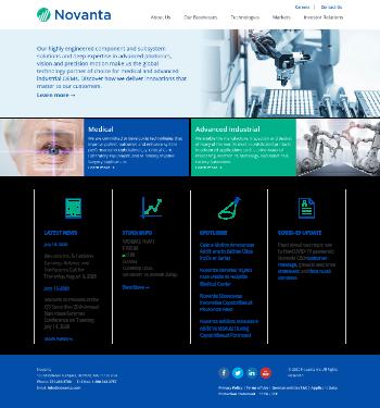 Novanta Inc. Website Screenshot