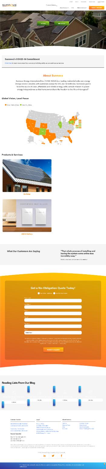 Sunnova Energy International Inc. Website Screenshot