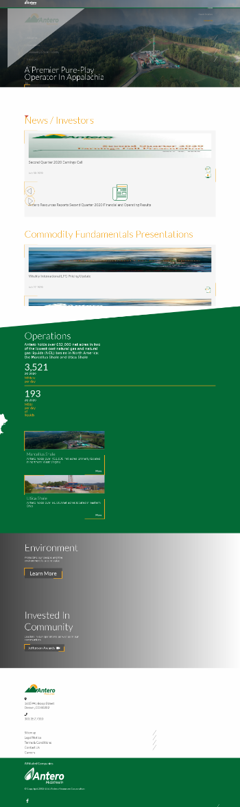 Antero Resources Corporation Website Screenshot
