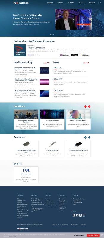 NeoPhotonics Corporation Website Screenshot