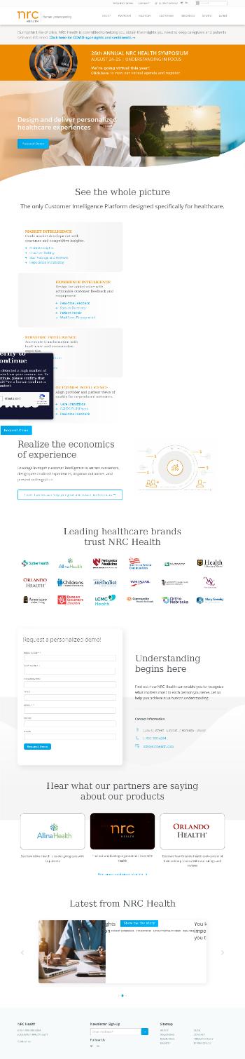 National Research Corporation Website Screenshot