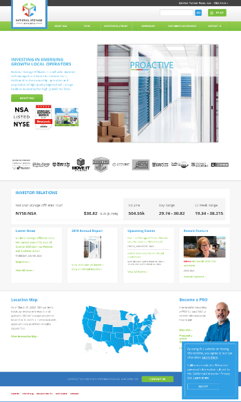 National Storage Affiliates Trust Website Screenshot