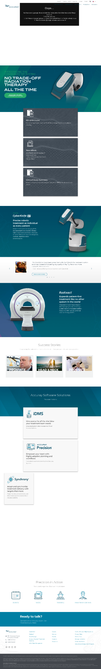 Accuray Incorporated Website Screenshot