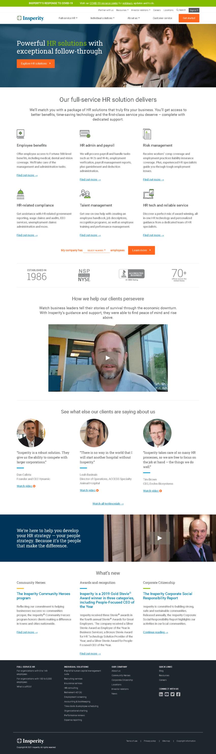 Insperity, Inc. Website Screenshot