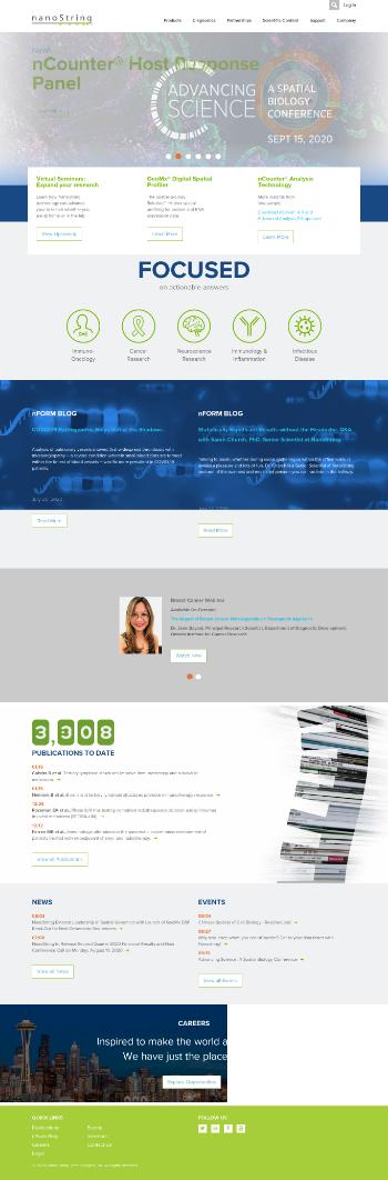 NanoString Technologies, Inc. Website Screenshot