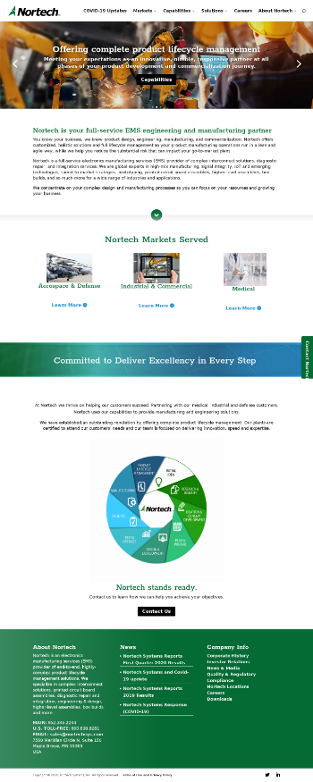 Nortech Systems Incorporated Website Screenshot