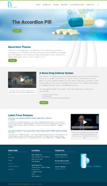 Intec Pharma Ltd. Website Screenshot