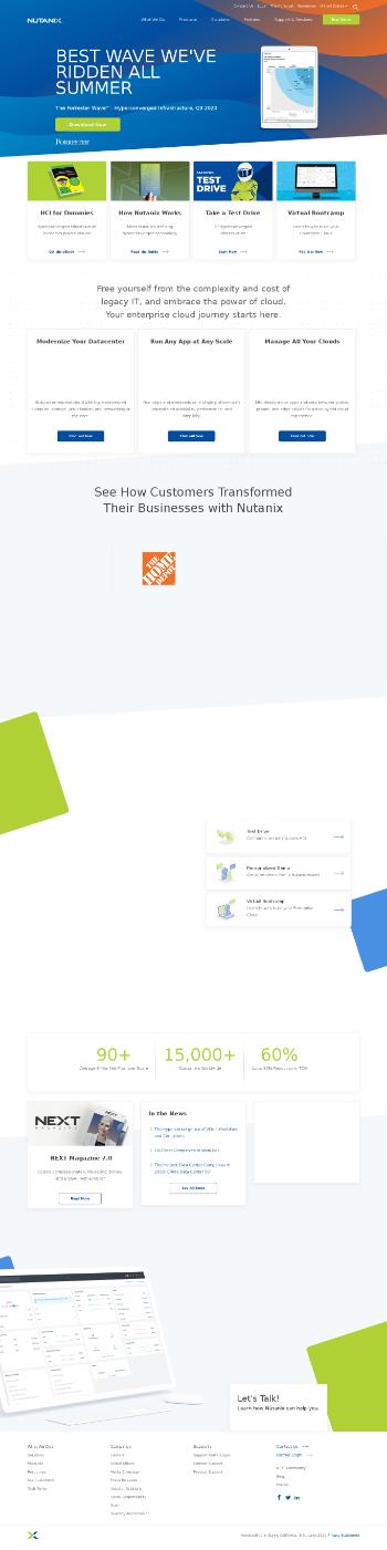 Nutanix, Inc. Website Screenshot