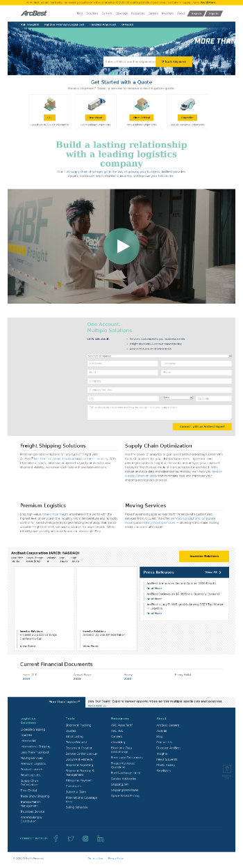 ArcBest Corporation Website Screenshot