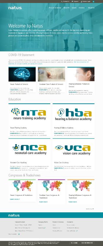 Natus Medical Incorporated Website Screenshot