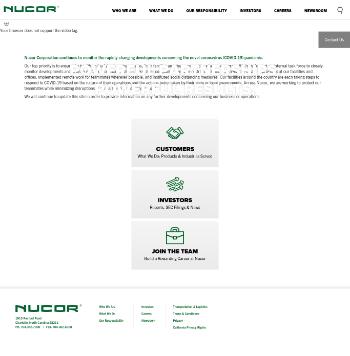 Nucor Corporation Website Screenshot
