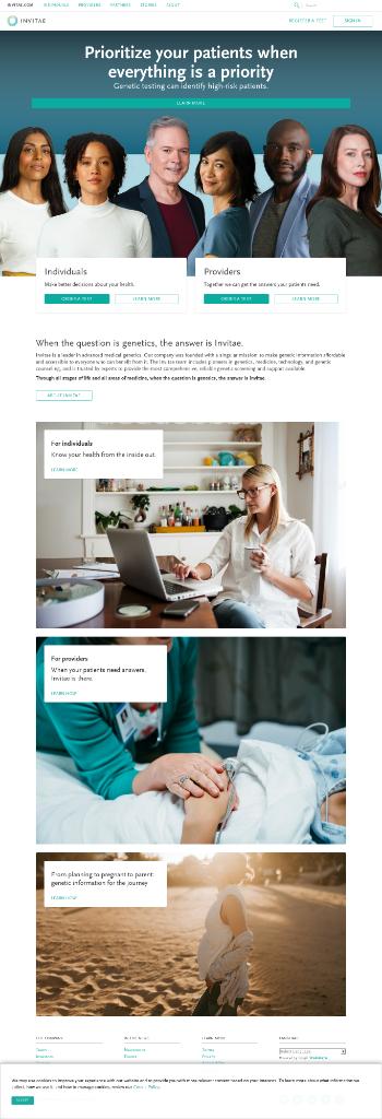 Invitae Corporation Website Screenshot