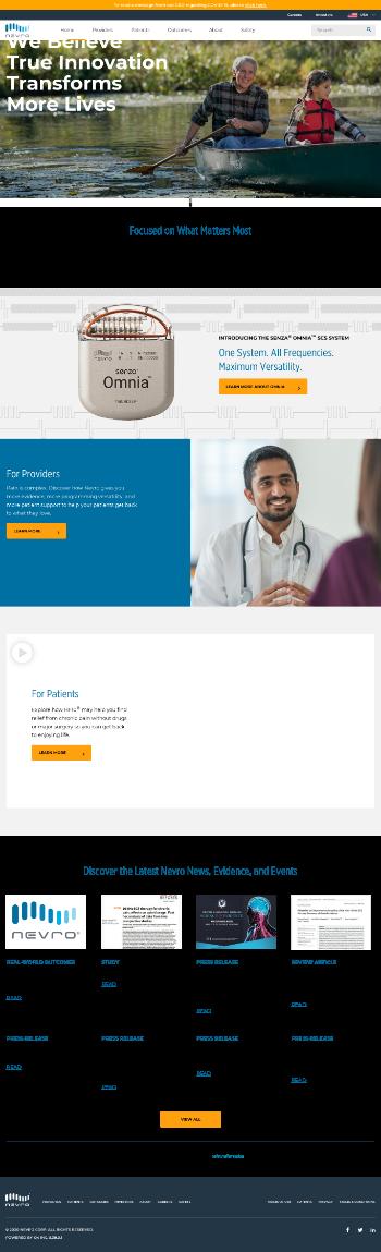 Nevro Corp. Website Screenshot
