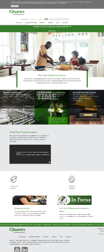 Quanex Building Products Corporation Website Screenshot