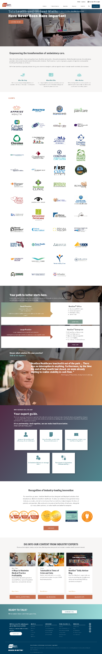 NextGen Healthcare, Inc. Website Screenshot