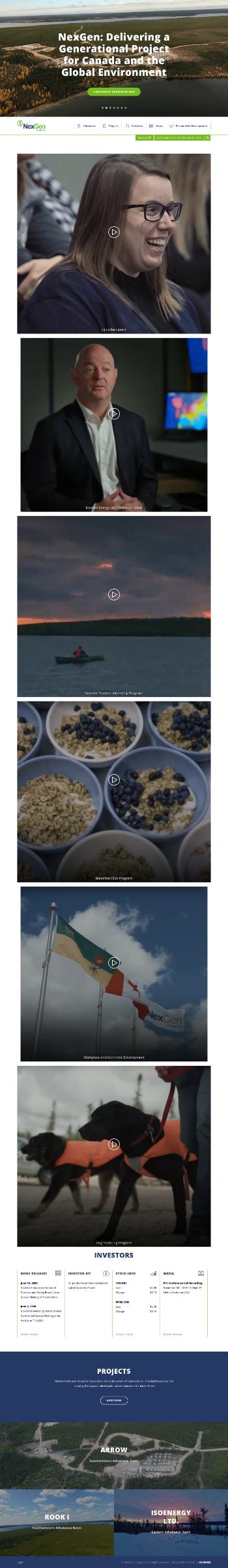 NexGen Energy Ltd. Website Screenshot