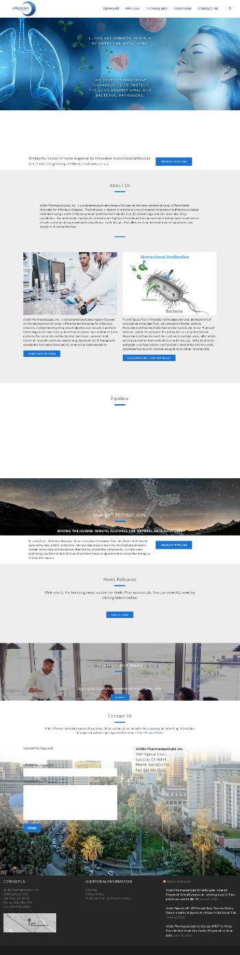 Aridis Pharmaceuticals, Inc. Website Screenshot