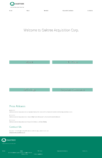 Oaktree Acquisition Corp. Website Screenshot