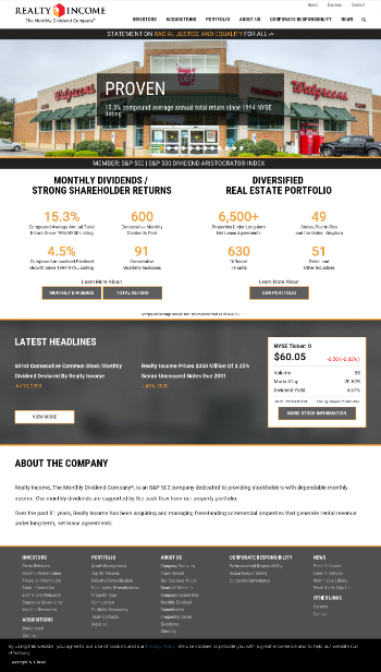 Realty Income Corporation Website Screenshot