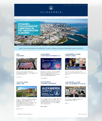 Alexandria Real Estate Equities, Inc. Website Screenshot