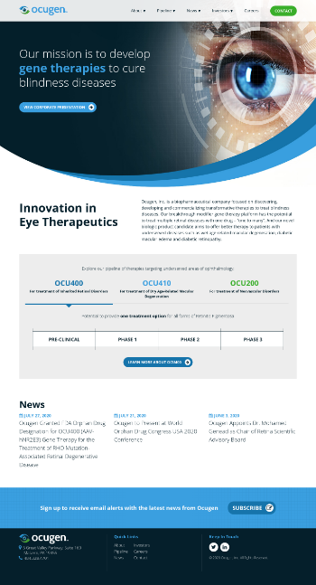 Ocugen, Inc. Website Screenshot