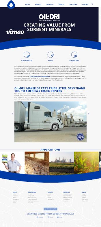 Oil-Dri Corporation of America Website Screenshot