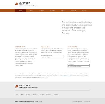 Oaktree Specialty Lending Corporation Website Screenshot