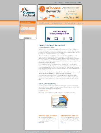 Oconee Federal Financial Corp. Website Screenshot